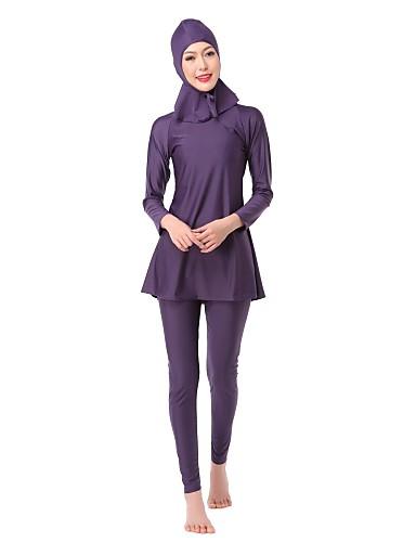 abordables Hauts pour Femmes-Femme Basique A Bretelles Noir Violet Shorts de Surf Burkini Maillots de Bain - Couleur Pleine XL XXL XXXL Noir