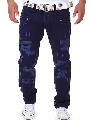 abordables Ropa de Hombre-Hombre Chic de Calle Diario Chinos Pantalones - Un Color Algodón Azul Marino Gris Claro Azul Real 28 34 36