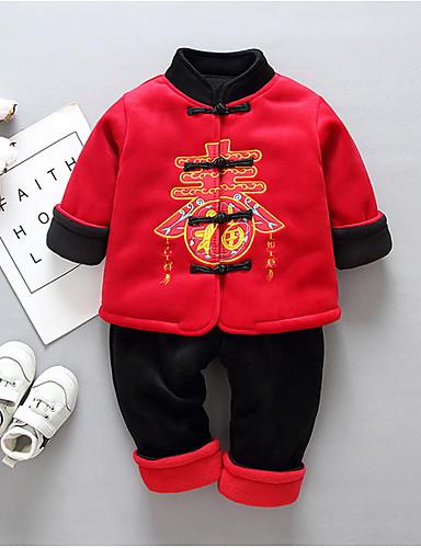 Baby Gutt Aktiv Daglig Trykt mønster Langermet Normal Polyester Tøysett Svart