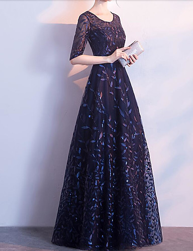 d8b2eb2da4a A-Line Jewel Neck Floor Length Lace   Tulle Formal Evening Dress with  Appliques   Embroidery   Sash   Ribbon by LAN TING Express