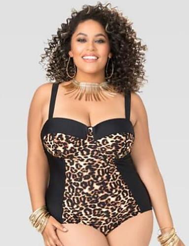 Žene Osnovni Braon Cheeky gaćice Jednodijelno Kupaći kostimi - Leopard XL XXL XXXL