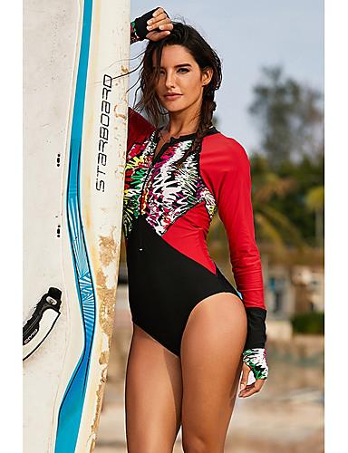 abordables Bañadores de Una Pieza-Mujer Básico Sin Tirantes Negro Rojo Bandeau Pícaro Una Pieza Bañadores - Geométrico Estampado L XL XXL Negro / Sexy
