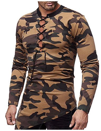 男性用 Tシャツ ベーシック ラウンドネック カモフラージュ コットン ルビーレッド L / 長袖