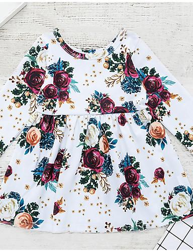 Μωρό Κοριτσίστικα Κομψό στυλ street Καθημερινά Φλοράλ Μακρυμάνικο Πολυεστέρας Φόρεμα Λευκό