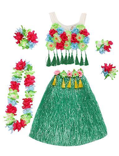 halpa Etniset & Cultural Puvut-Havaijilainen Hula-tanssija Havaijin puvut Ruoho hame Aikuisten Naisten Vintage-kokoelma Joulu Halloween Karnevaali Festivaali / loma Pellava / puuvilla sekoitus Nylon Vihreä / Sininen / Pinkki