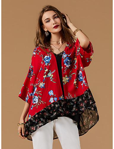 זול חולצות לנשים-גיאומטרי צווארון V גדול בסיסי חולצה - בגדי ריקוד נשים אודם XL