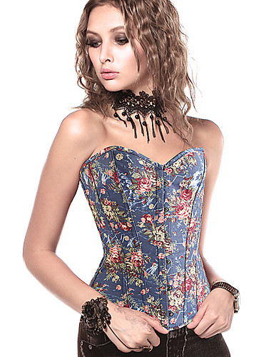 abordables Corsets-Normal Polyester Corset Sexy Fleur Mariage Motif / Impression Corset