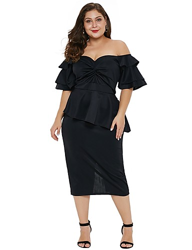 e002d675dc61 Women s Party Going out Sexy Slim Dress - Solid Colored Ruffle Ruched High  Waist Off Shoulder Spring Black Red Pink XXXL XXXXL XXXXXL