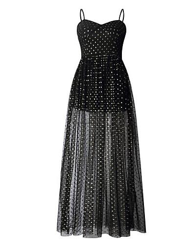 voordelige Maxi-jurken-Dames Slank Recht Jurk - Polka dot, Split Bandje Midi