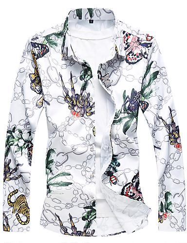 cheap Men's Plus Sizes-Men's Chinoiserie Plus Size Cotton Shirt - Floral / Long Sleeve / Fall