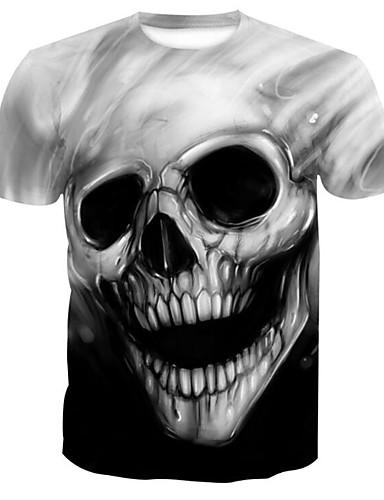 voordelige Herenbovenkleding-Heren Print T-shirt 3D / Cartoon / Doodskoppen Grijs