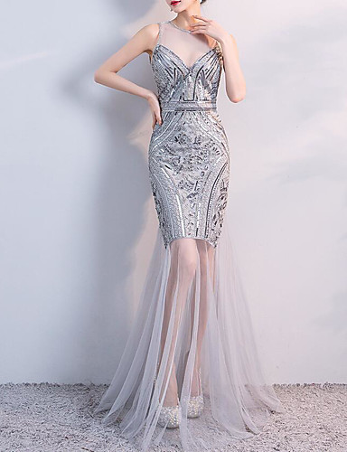 4f866a25aea A-Line   Mermaid   Trumpet Jewel Neck Floor Length Tulle   Sequined Formal  Evening Dress with Sequin   Crystals   Embroidery by LAN TING Express   07107044