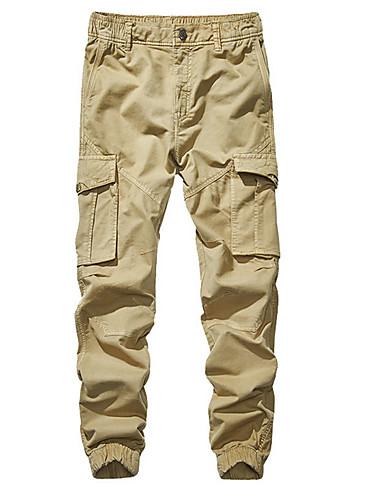 お買い得  カーゴパンツ-男性用 ベーシック プラスサイズ チノパン / カーゴパンツ パンツ - ソリッド グレー