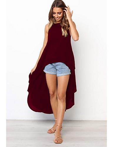 abordables Robes Femme-Femme Elégant Asymétrique Gaine Robe Couleur Pleine Noir Gris Vin M L XL Sans Manches / Sexy