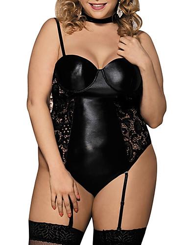 זול קולקציית מידות גדולות-בגדי ריקוד נשים סקסית ביריות / טדי / חליפות גוף Nightwear מידות גדולות - גב חשוף, אחיד שחור XL XXXL XXXXXL