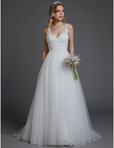 ea6932cb91 A-Line V Neck Court Train Lace / Tulle Made-To-Measure Wedding Dresses with  Lace by LAN TING BRIDE® / Beautiful Back