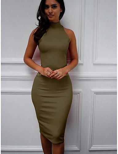 abordables Robes Femme-Femme Midi Mince Courte Robe - Sexy Mince, Couleur Pleine Printemps Eté Automne Vert Véronèse Kaki Bleu royal M L XL Manches Longues