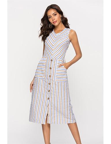 abordables Robes Femme-Femme Basique Midi Gaine Robe - Imprimé, Rayé Taille haute Col en U Eté Kaki M L XL Coton Sans Manches