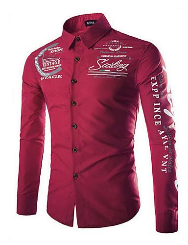 Men's Basic Plus Size Shirt - Letter Print Spread Collar / Long Sleeve / Spring / Fall