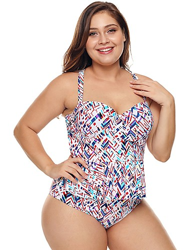 797c1aed2eb Women s Basic Strap Black Red Rainbow Wrap Cheeky Tankini Swimwear -  Geometric Tropical Leaf Backless Criss Cross Print XL XXL XXXL Black   Sexy
