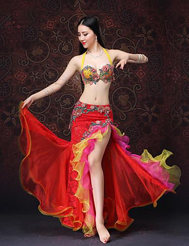 halpa Etniset & Cultural Puvut-Espanjan nainen Asu Aikuisten Naisten Flamenco Halloween Karnevaali Masquerade Festivaali / loma Pitsi Organza Rubiini / Pinkki Nainen Karnevaalipuvut Kirjottu