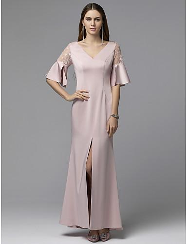 billige Feriekjoler-Tube / kolonne V-hals Gulvlang Chiffon / Blonder Skoleball Kjole med Delt front av TS Couture®