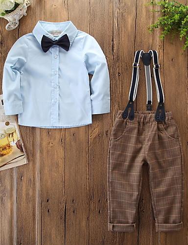 סט של בגדים שרוול ארוך אחיד / משובץ בנים ילדים / פעוטות