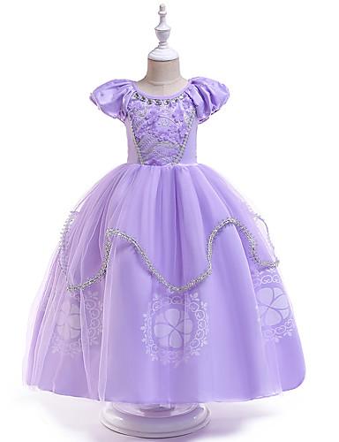 Παιδιά / Νήπιο Κοριτσίστικα Ενεργό / Γλυκός Πάρτι Μονόχρωμο Κοντομάνικο Μακρύ Φόρεμα Βυσσινί