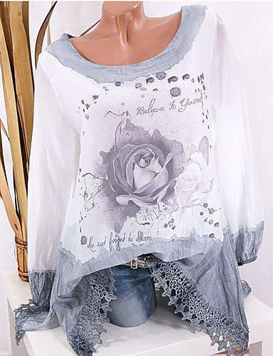 povoljno Majica-Bluza Žene - Ulični šik Dnevno Cvjetni print Blushing Pink / Proljeće / Jesen