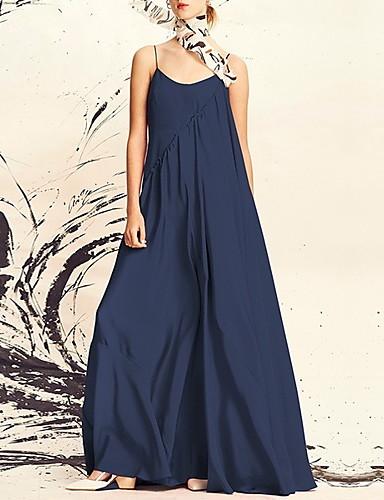 baratos Roupa de Mulher-Mulheres Algodão balanço Vestido Com Alças Longo