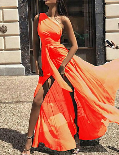 voordelige Maxi-jurken-Dames Feestdagen Strand Slank Wijd uitlopend Abaya Jurk - Effen, Meerlaags Geplooid Sexy Eén-schouder Maxi
