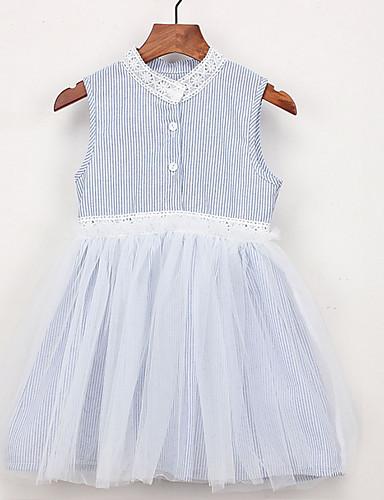 幼児 女の子 活発的 日常 ストライプ ノースリーブ 膝丈 ポリエステル ドレス ライトブルー