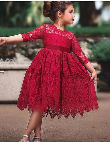 Παιδιά Κοριτσίστικα Βασικό Μονόχρωμο Μισό μανίκι Φόρεμα Λευκό