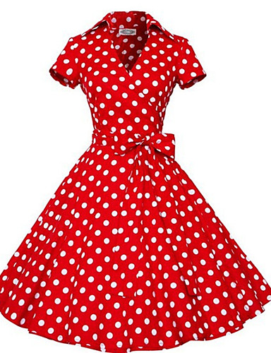 Audrey Hepburn Polka Dots Retro / Vintage 1950s Costume Women's Dress Black / Red / Brown Vintage Cosplay Half Sleeve Knee Length