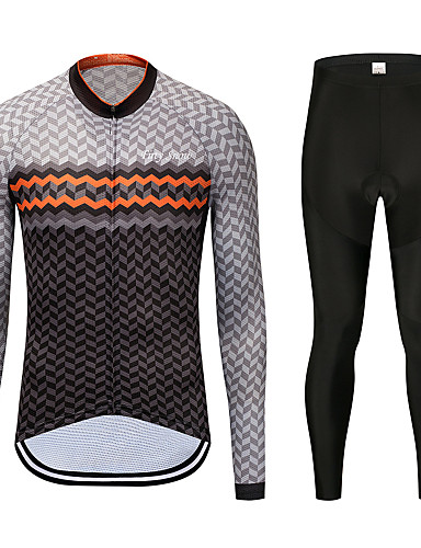 cheap Cycling Clothing-FirtySnow Men's Long Sleeve Cycling Jersey with Tights - Brown+Gray Bike Clothing Suit Thermal / Warm Windproof Fleece Lining Winter Sports Polyester Checkered / Gingham Mountain Bike MTB Road Bike