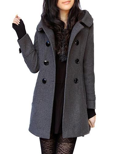 preiswerte Damen Überbekleidung-Damen Alltag Herbst / Winter Lang Trench Coat, Solide V-Ausschnitt Langarm Wolle / Polyester Schwarz / Grau / Fledermaus Ärmel