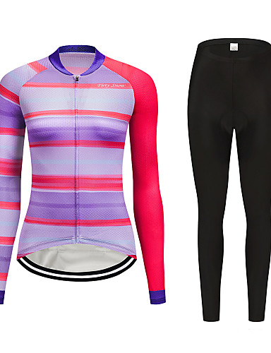 cheap Cycling Clothing-FirtySnow Women's Long Sleeve Cycling Jersey with Tights Peach Bike Clothing Suit Breathable Moisture Wicking Quick Dry Sports Polyester Horizontal Stripes Mountain Bike MTB Road Bike Cycling