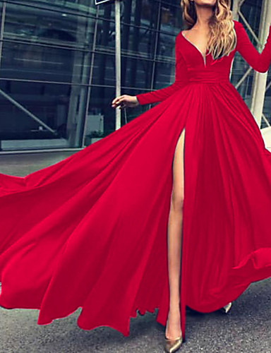 cheap All Prom Dresses-Maxi Dress A-Line Plunging Neck Floor Length Chiffon Dress with Split Front by LAN TING Express