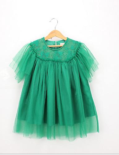 幼児 女の子 甘い / かわいいスタイル ソリッド レース 半袖 ドレス グリーン