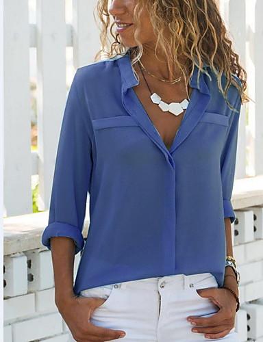 Camicia Per donna Chiffon, Tinta unita Colletto Bianco XL
