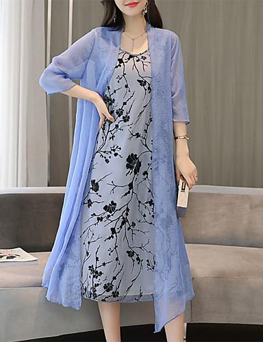 billige Kjoler-Dame Store størrelser Sofistikert Elegant Draperte ermer Bomull Skiftet Kjole - Geometrisk, Trykt mønster Knelang Dusty Rose