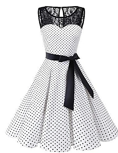 1215d31167a61 Women s Plus Size Daily 1950s A Line Dress - Polka Dot Lace White Black Red  XXXL XXXXL XXXXXL   Sexy