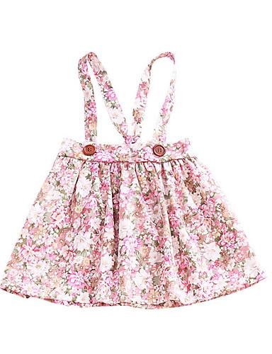 Μωρό Κοριτσίστικα Βασικό Φλοράλ Αμάνικο Βαμβάκι Φόρεμα Ανθισμένο Ροζ