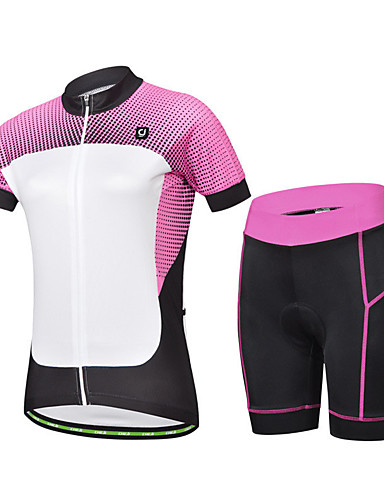 cheap Cycling Clothing-cheji® Women's Short Sleeve Cycling Jersey with Shorts - Black / White Dots Bike Clothing Suit Breathable Sports Lycra Dots Mountain Bike MTB Road Bike Cycling Clothing Apparel / Racing / YKK Zipper