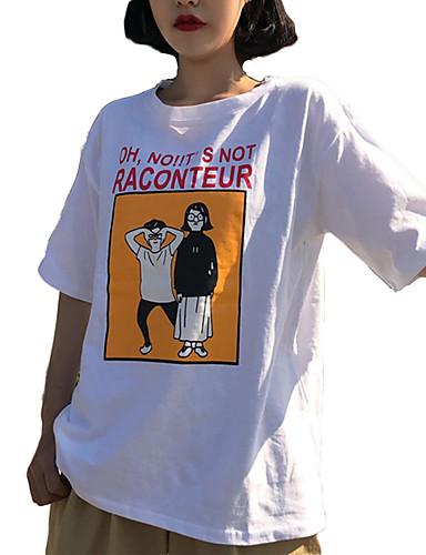 γυναικείο ασιατικό μέγεθος βαμβακερό χαλαρό μπλουζάκι - καρτούν   γράμματα  στρογγυλό λαιμό bbca76dc330