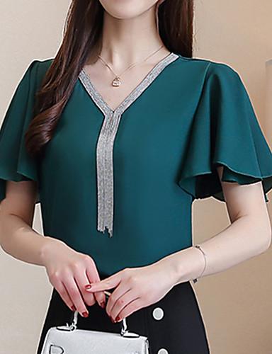 Acquista A Buon Mercato Blusa Per Donna Per Uscire Moda Città Tinta Unita - Monocolore A V Verde Xl - Estate #07141774 L'Ultima Moda