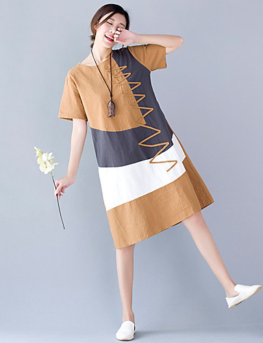 bcfab748198 Γυναικεία Παραλία Τουνίκ Φόρεμα - Συνδυασμός Χρωμάτων Μίντι