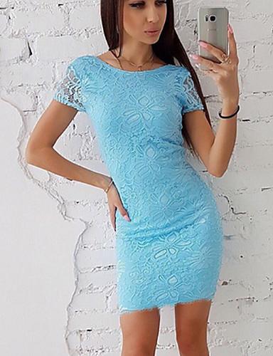 abordables Robes Femme-Femme Au dessus du genou Gaine Robe Blanc Rose Claire Bleu clair L XL XXL Coton Manches Courtes