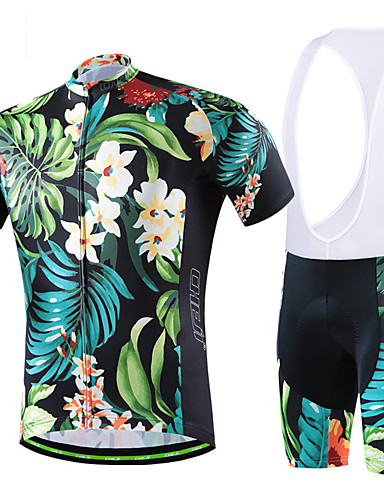 cheap Cycling Clothing-cheji® Men's Short Sleeve Cycling Jersey with Shorts - Green / Black Black / Green Black / Blue Bike Clothing Suit Breathable Sports Solid Colored Mountain Bike MTB Road Bike Cycling Clothing Apparel