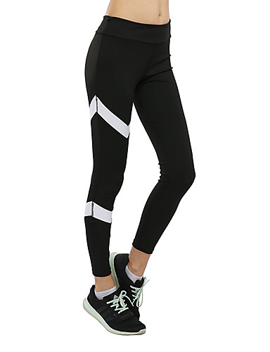 c1932695f919b Mujer Cintura elástica Pantalones ajustados de running Pantalones de Running  Negro Deportes Bloques Pantalones   Sobrepantalón Medias   Mallas Largas ...